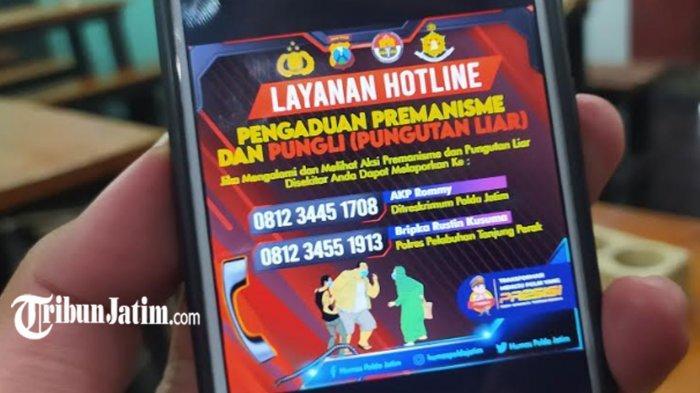 Flyer kontak, dan nama akun media sosial pelaporan premanisme dan pungli ke Polda Jatim.