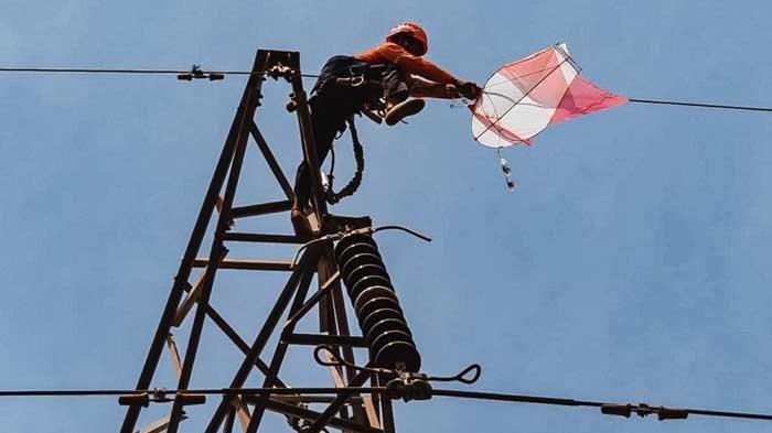 Jaga Kontinuitas Penyaluran Listrik, PLN Lakukan Urak-urak Layangan di Madura