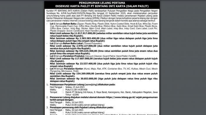 Pengumuman Lelang Pertama Eksekusi Harta Pailit PT BINTANG INTI KARYA, Berikut Syarat-syaratnya