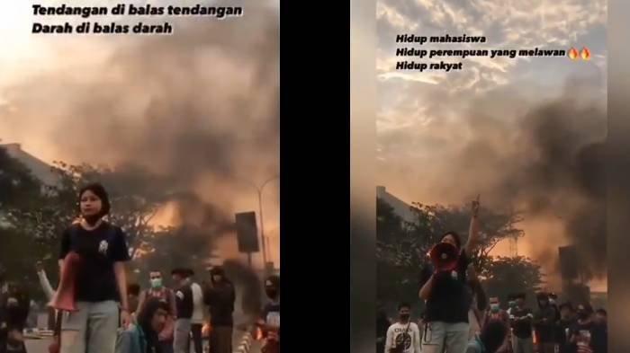 Viral Video Mahasiswi yang Orasi 'Pancasalah' saat Demo Tolak UU Cipta Kerja, Dijuluki Preman Kampus