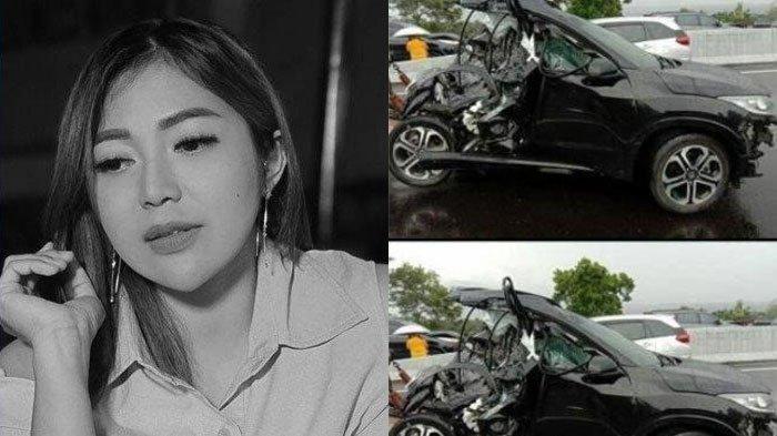 Mobil yang diduga ditumpangi Chacha Sherly saat kecelakaan