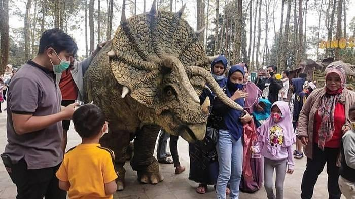 Mojosemi Forest Park, lokasi dinosaurus yang videonya viral di media sosial. Pada video itu, seekor dinosaurus Triceratops diturunkan dari truk dan dijinakkan oleh beberapa orang.