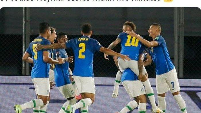 Hasil Paraguay Vs Brasil - Neymar dkk Menang, Tim Samba Jauhi Argentina