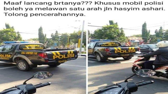 VIRAL Mobil Polisi Nekat Lawan Arus di Bojonegoro Padahal Ada Tanda Larangan, Kena Tilang & Push Up