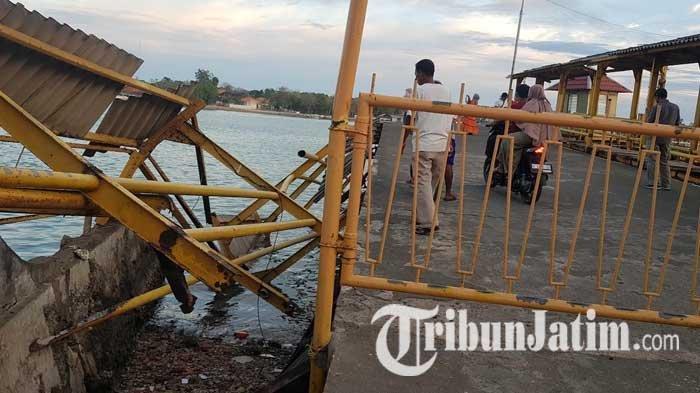 Pagar dan Jalan Penumpang di Dermaga Pelabuhan Kalianget Sumenep Ambruk