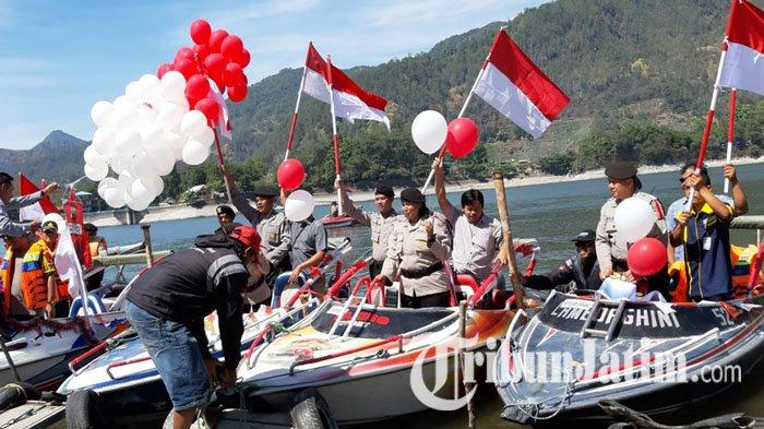 Jelang Pelantikan Jokowi-Maruf, Polisi-TNI Bikin Parade Indonesia Damai Keliling Telaga Sarangan