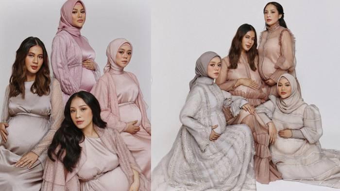 Paula Verhoeven, Lesty Kejora, Aurel Hermansyah, dan Nagita Slavina kompak melakukan foto maternity.