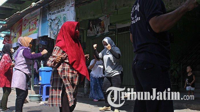 Pandemi Covid-19, Pedagang Pasar Bandar Kediri Gelar Senam Imun Bersama: Bisa Tambah Kekebalan Tubuh