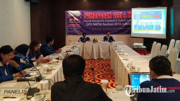 Pemaparan Visi dan Misi Bacawali via Nasdem Surabaya Mulai Digelar,Undang Panelis Unair dan ITS