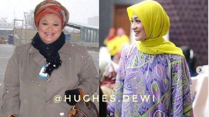Pembawa acara Dewi Hughes mengunggah foto dirinya saat memiliki berat badan 150 kg (kiri) dan 59 kg (kanan).