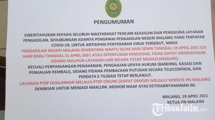 Dua Pegawai Terpapar Covid-19, Kantor PN Malang Lockdown Selama Tiga Hari
