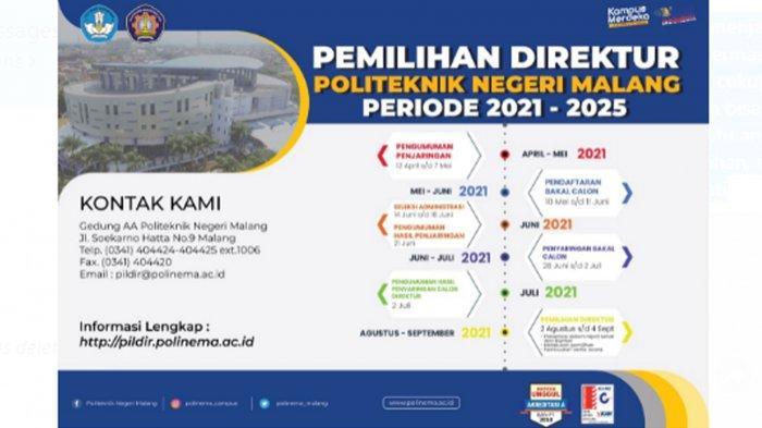 Pendaftaran Calon Direktur Politeknik Negeri Malang Periode 2021-2025, Dibuka 10 Mei-11 Juni 2021