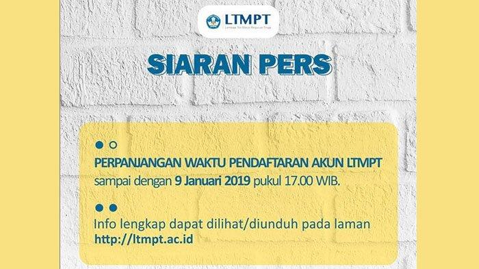 Pendaftaran LTMPT untuk Daftar SNMPTN 2020 Diperpanjang, Lengkapi Registrasi di Portal.ltmpt.ac.id