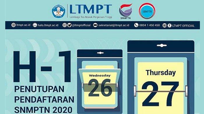 Pendaftaran SNMPTN 2020 Ditutup Besok, Segera Lakukan Finalisasi, Data KIP Kuliah Dapat Disusulkan