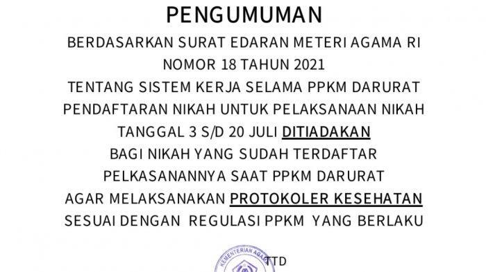 Pendaftaran Nikah Saat PPKM Darurat 3-20 Juli di Tuban Ditiadakan, Bagaimana Kalau Sudah Daftar?