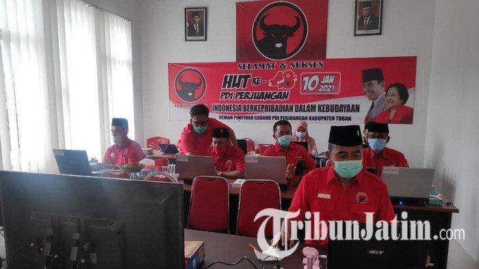 Peringati HUT Partai ke-48, PDI Perjuangan Tuban Ajak Kader Simak Arahan Ketua Umum Via Daring