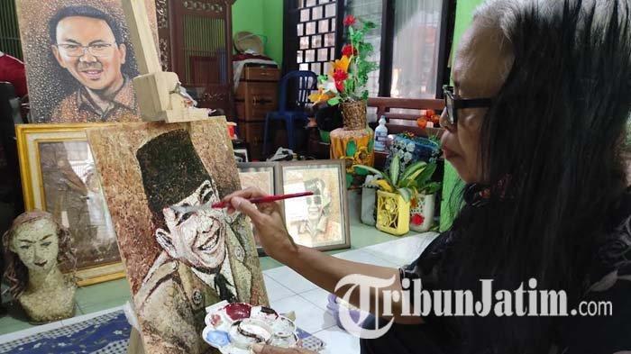 Pensiunan PNS di Kota Blitar Sulap Limbah Cangkang Telur Jadi Lukisan Menarik, Langganan Pejabat