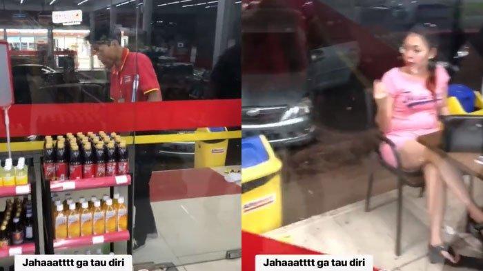 VIRAL Video Kelakuan Cewek Seenaknya Buang Sampah Kuaci di Depan Pegawai yang Lagi Mengepel, 'Jahat'
