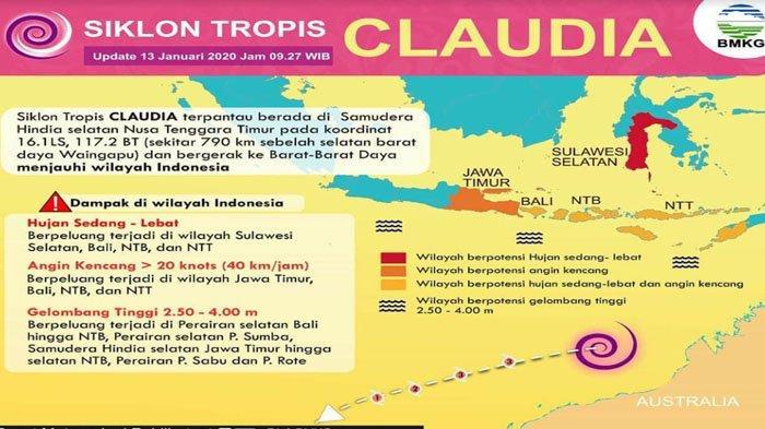 Awas Cuaca Ekstrem di Banyuwangi & Jatim! Ada Siklon Claudia Sebabkan Angin & Gelombang Tinggi