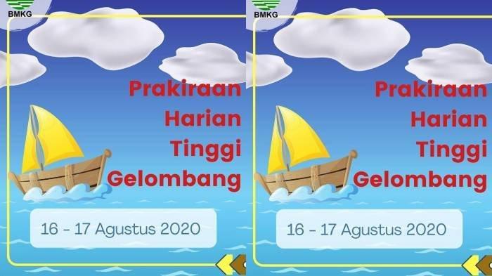 BMKG Rilis Peringatan Dini Minggu (16/8/2020), Perairan Selatan Pulau Jawa Ada Gelombang Tinggi 4 M