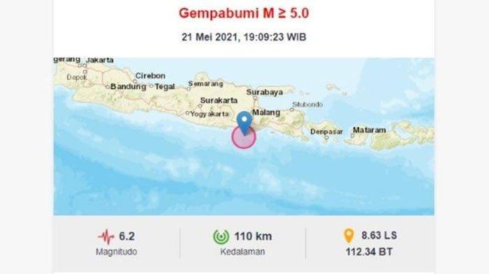 Dampak Gempa 6.2 SR di Blitar, BPBD Trenggalek: Sampai Siang Ini Tidak Ada Laporan Kerusakan