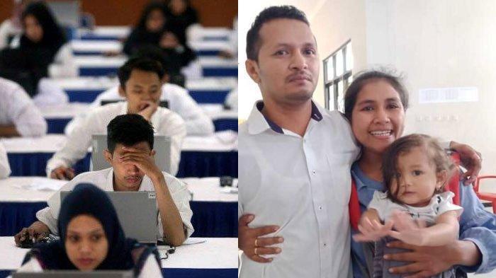 Ekspresi Haru Istri Lihat SuamiRaih Nilai Tertinggi Tes SKD CPNS 2019, Langsung Peluk,Terenyuh