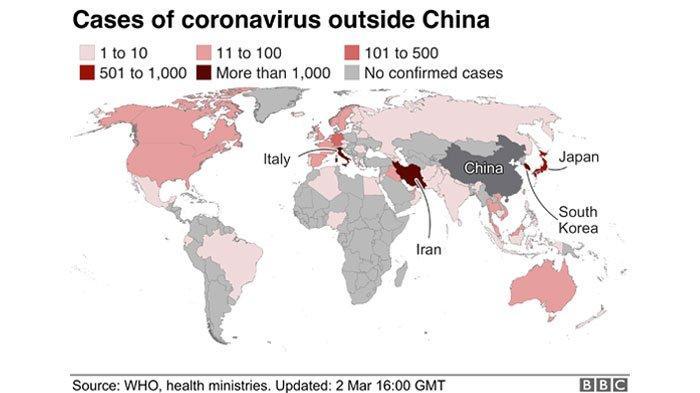 UPDATE 5 Negara dengan Kasus Virus Corona Terbanyak per 4 Maret 2020, Iran & Italia Termasuk Parah