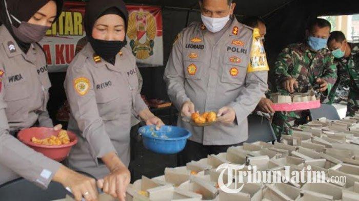 Ada Dapur Umum di Polres Blitar Kota, Kerja Sama TNI-Polri Sediakan Nasi Bungkus Atasi Dampak Corona