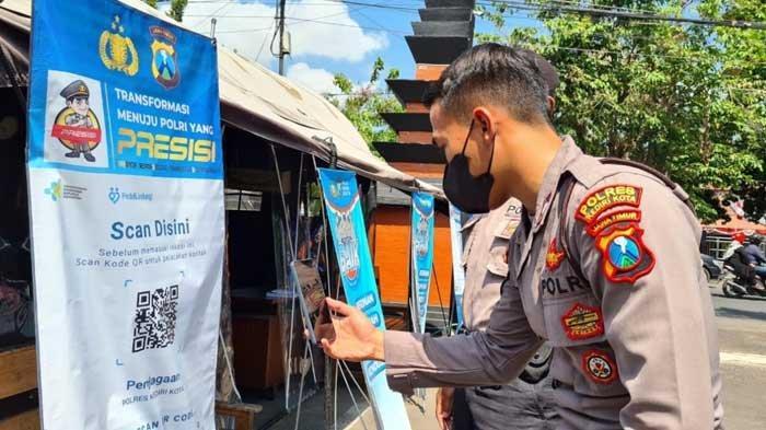 Masyarakat Wajib Scan QR Code Aplikasi PeduliLindungi Sebelum Masuk Polres Kediri Kota