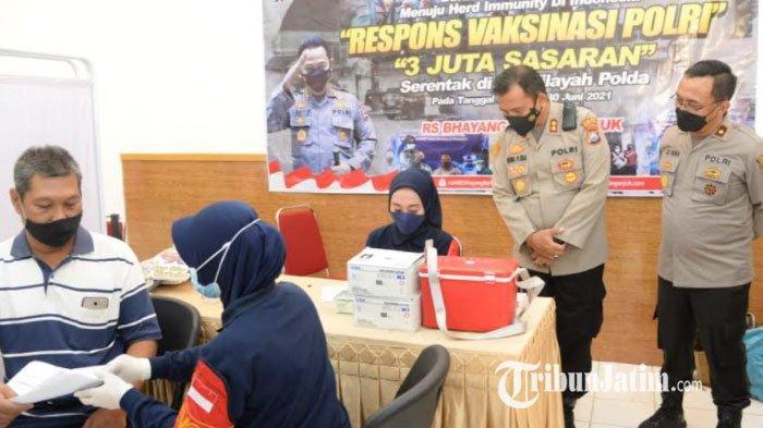 Bantu Percepatan Penanganan Covid-19, 145 Warga Jalani Vaksinasi di Mapolres Madiun Kota