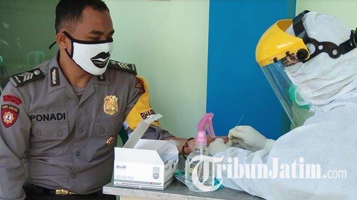 Polisi, Relawan dan Perangkat Desa di Ngadiluwih Kediri Ikuti Rapid Test Covid-19, Begini Hasilnya