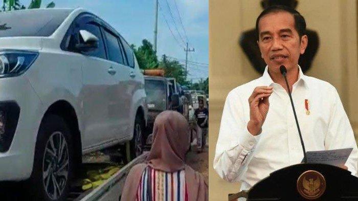 Kolase Presiden Jokowi dan mobil baru yang diborong miliarder baru Tuban di Desa Sumurgeneng, Kecamatan Jenu, Kabupaten Tuban
