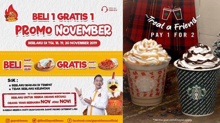 Promo 18 November 2019, Beli 1 Gratis 1 Geprek Bensu dan Pay 1 For 2 Starbucks, Selain Nama NOVI?