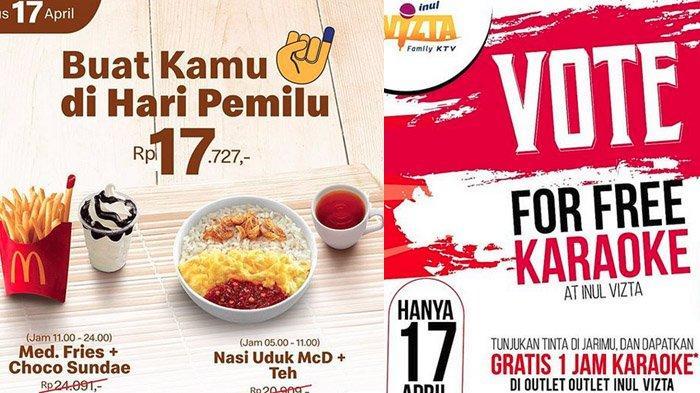 Promo Pemilu 2019 Rabu (17/4/2019): McD Harga Khusus Rp 17 Ribu, Gratis Nonton Film hingga Karaoke
