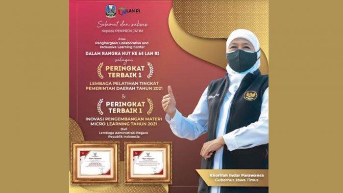 Pemprov Jatim Raih 2 Penghargaan Terbaik Pertama dari LAN RI, Kado Terindah HUT Kemerdekaan Ke-76
