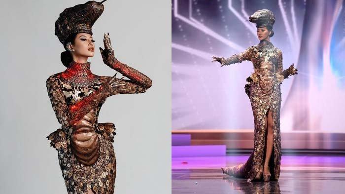 Terdiri dari Ribuan Keping Logam, Kostum Nasional Komodo Dapat Sorotan di Ajang Miss Universe 2021