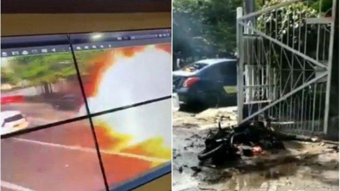 Rekaman video peristiwa ledakan aksi bom bunuh diri di Gereja Katedral Makassar Minggu (28/3/2021). (YouTube Kompas TV via TribunTimur)