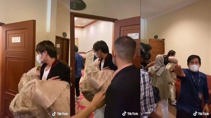 Rizky Billar menggendong Lesty Kejora yang jatuh pingsan ke dalam lobi aula Hotel Royale Krakatau, Cilegon, Banten, Sabtu (9/10/2021).