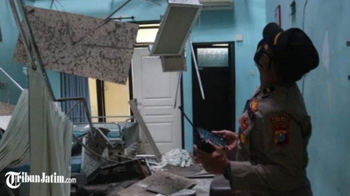 Kondisi kamar di Ruang Paviliun Cempaka RSUD Mardi Waluyo Kota Blitar rusak akibat gempa, Sabtu (10/4/2021).