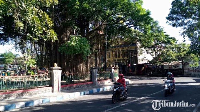 Salah satu jalan seputar alun-alun Tulungagung yang akan digelapkan selama PPKM Darurat.
