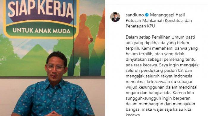 Sandiaga Uno Ngaku Kecewa, Tetap Ucapkan Selamat untuk Jokowi-Ma'ruf, Beri Pesan pada Pendukung