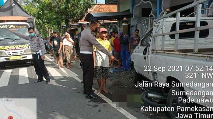 Kecelakaan Maut di Pamekasan, Mobil Pickup Oleng Tabrak Motor Parkir, Satu Orang Tewas