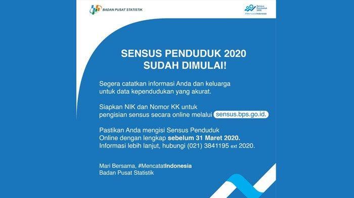 Panduan Mengisi Sensus Penduduk Online 2020 Di Sensus Bps Go Id Ini Dokumen Yang Perlu Disiapkan Halaman All Tribun Jatim