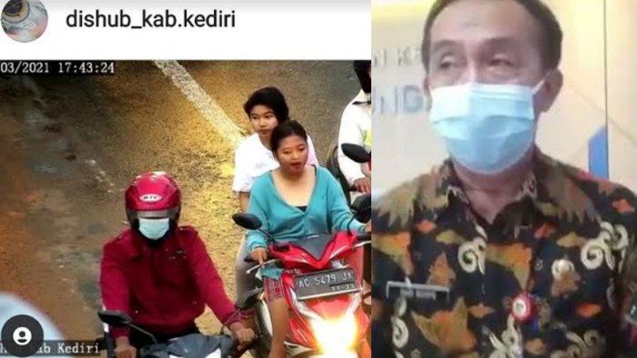 Viral Emak-emak Motoran Tanpa Helm dan Tak Memakai Masker, Ditegur ATCS Dishub Kediri Malah Kabur