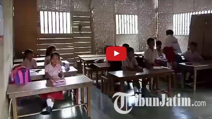 VIDEO - Siswa SD di Kaki Gunung Wilis, Ruang Kelas Dari Anyaman Bambu dan . . .