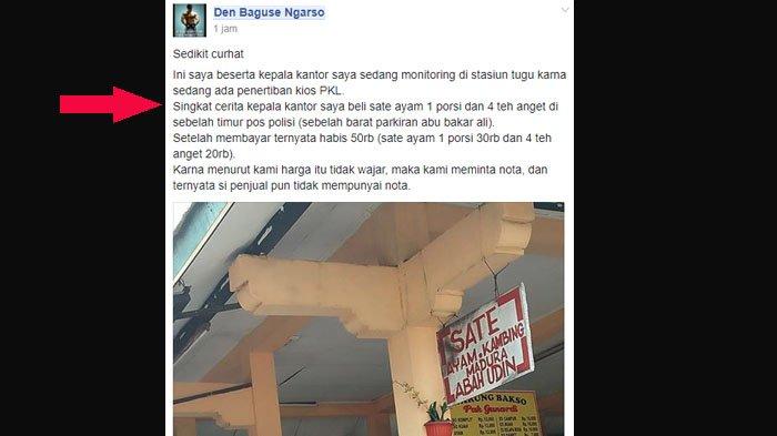 Curhat di Facebook Soal Harga Sate yang Kemahalan, Pria Ini Malu Sendiri Dapat Jawaban dari Netizen