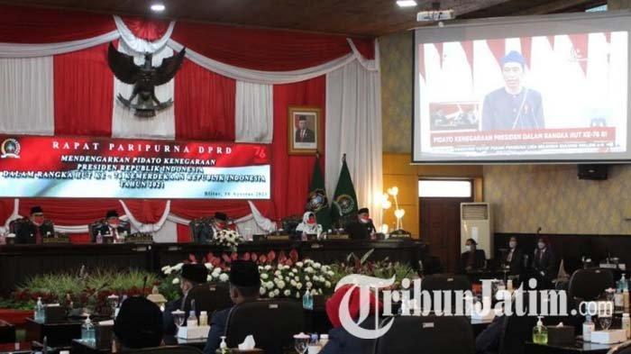 DPRD Kota Blitar Gelar Rapat Paripurna Mendengarkan Pidato Kenegaraan Presiden RI Joko Widodo
