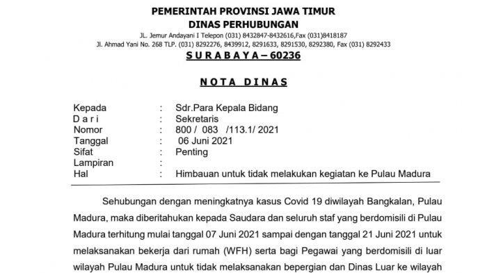 Dishub Jatim Terbitkan Imbauan agar ASN WFH dan Tak Tugas Dinas ke Madura, Hanya untuk Internal