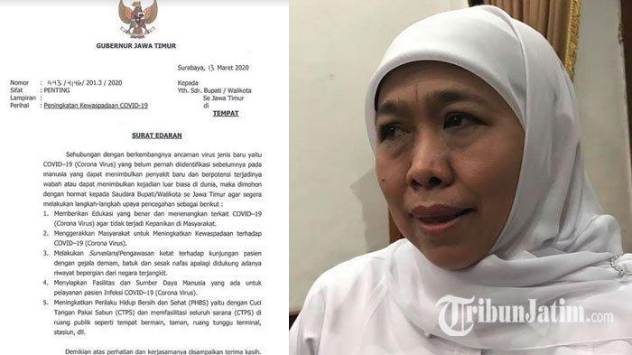 Surat Edaran Gubernur Jatim soal Corona, Bupati & Wali Kota Diminta Tingkatkan Kewaspadaan Covid-19