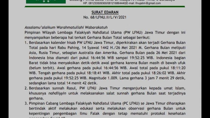 Gerhana Bulan Total Dalam Waktu Dekat, Lembaga Falakiyah NU Jatim Keluarkan Surat Edaran